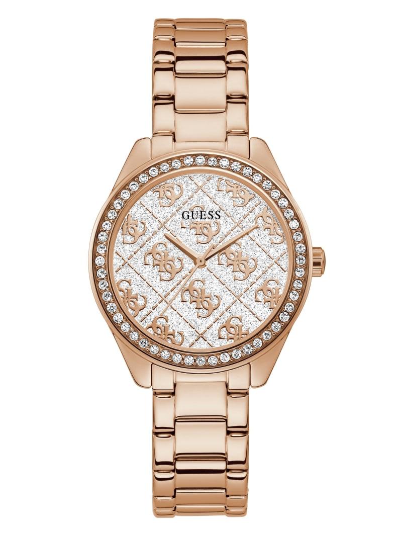 Rose Gold-Tone Glitter Logo Watch