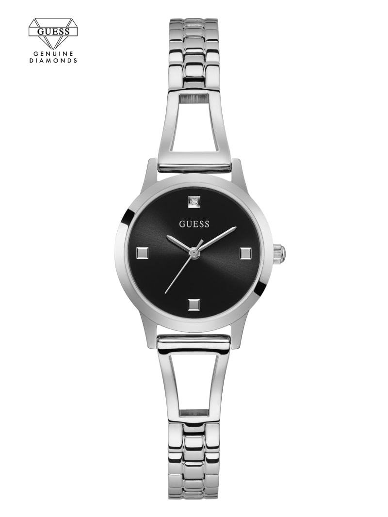Silver-Tone And Black Diamond Analog Watch