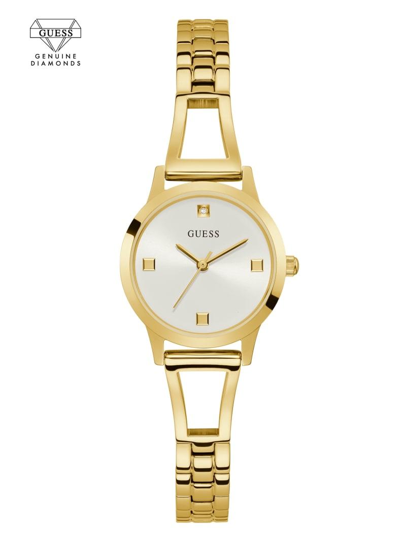 Gold-Tone And White Diamond Analog Watch