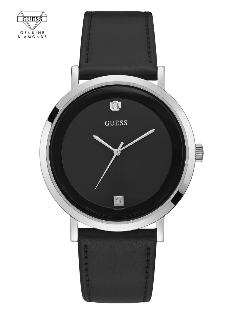 Silver-Tone And Black Leather Watch