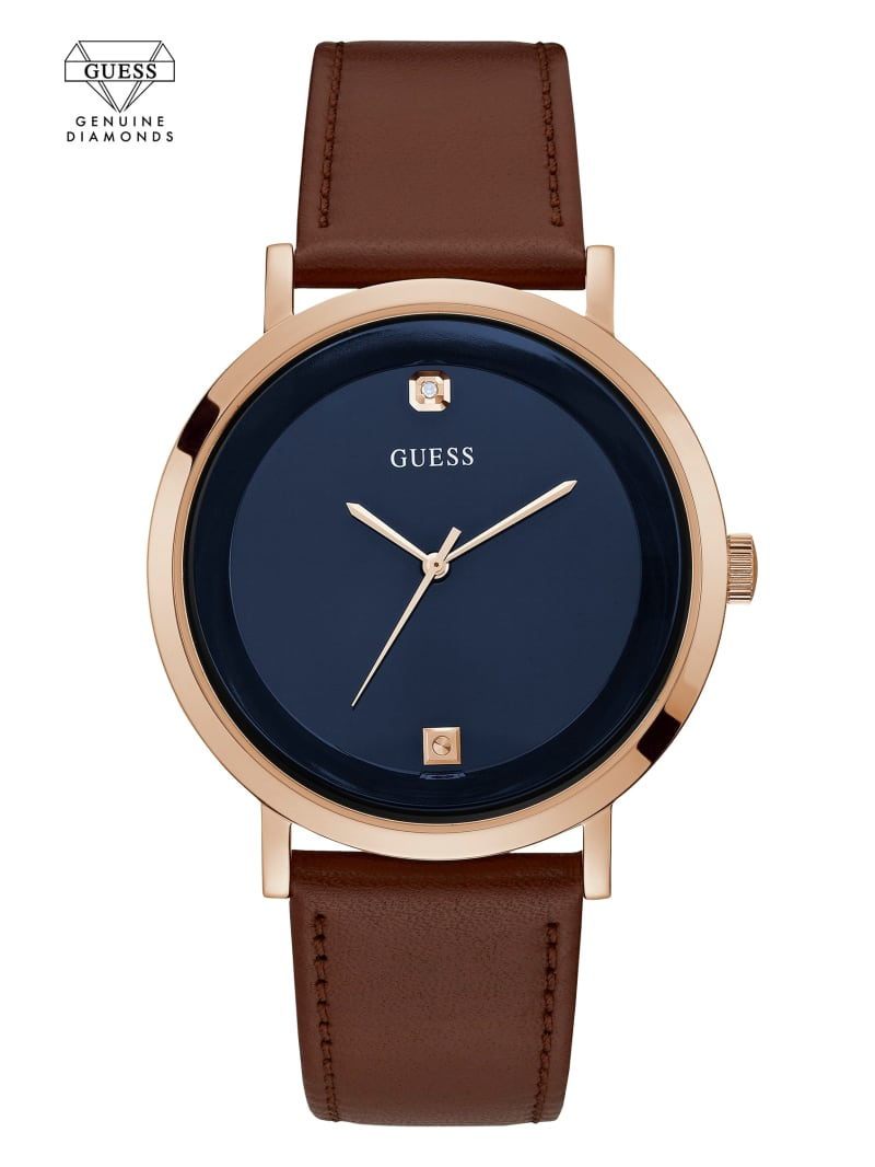Rose Gold-Tone And Brown Leather Watch