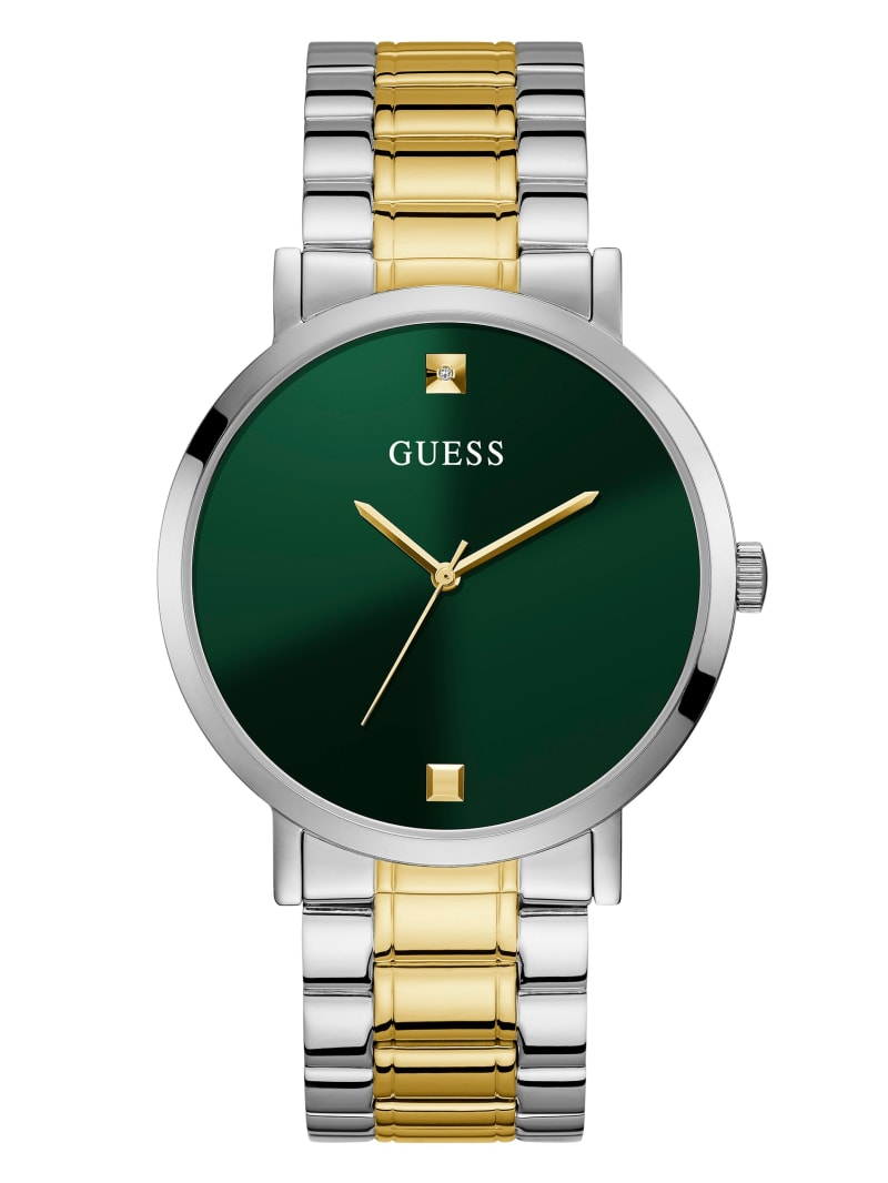 Green Two-Tone Diamond Analog Watch