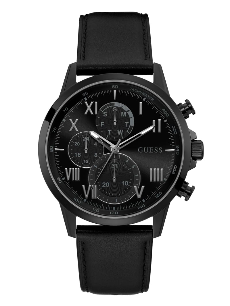 Black-Tone And Black Leather Chronographic Watch