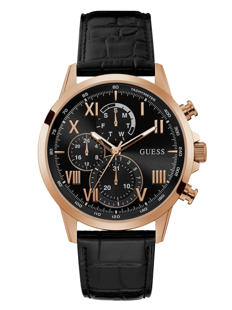 Rose-Gold Tone And Black Leather Chronographic Watch