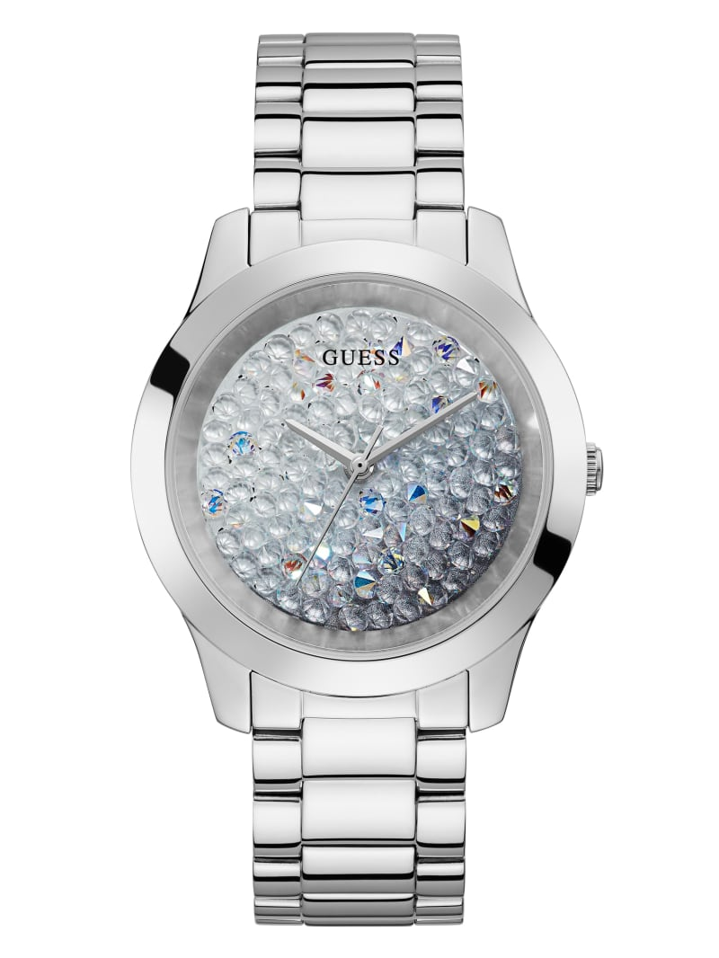 Silver-Tone Ombre Crystal Analog Watch