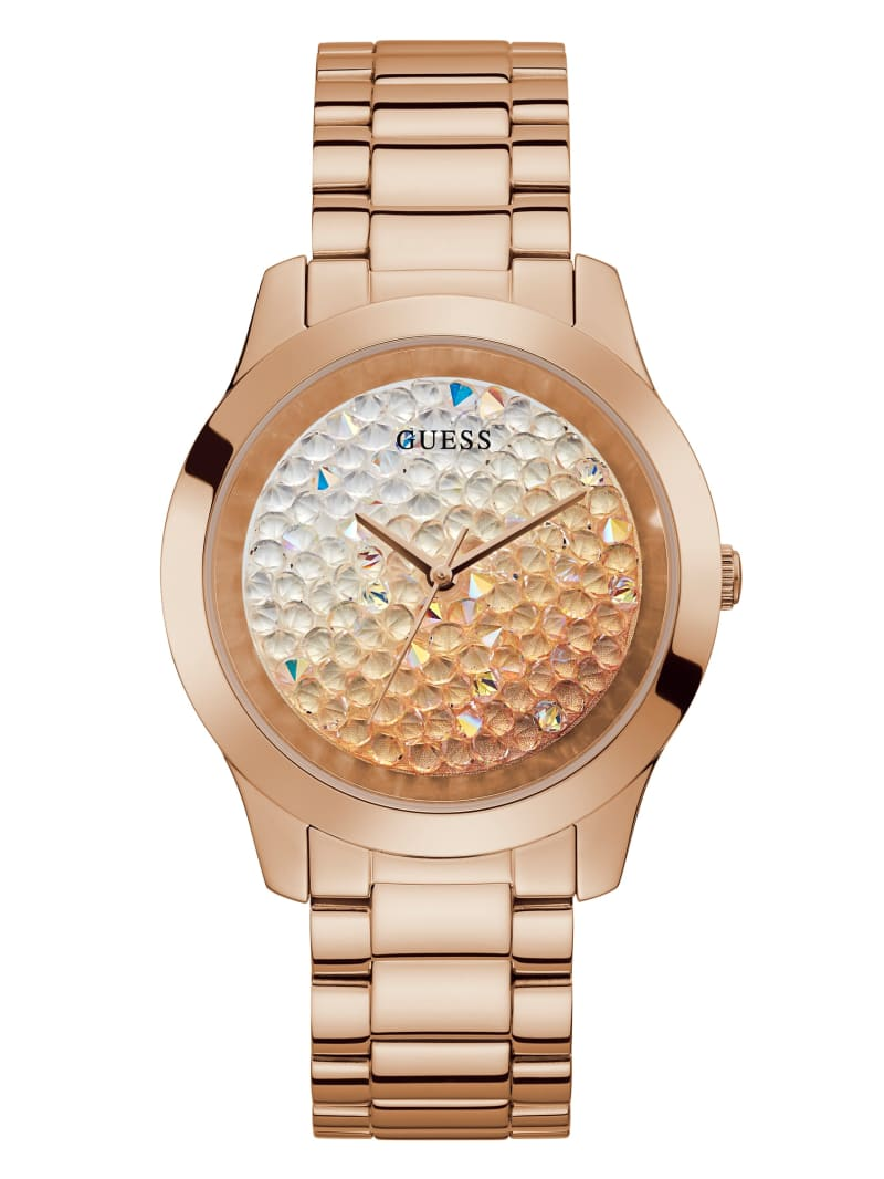 Rose Gold-Tone Ombre Crystal Analog Watch