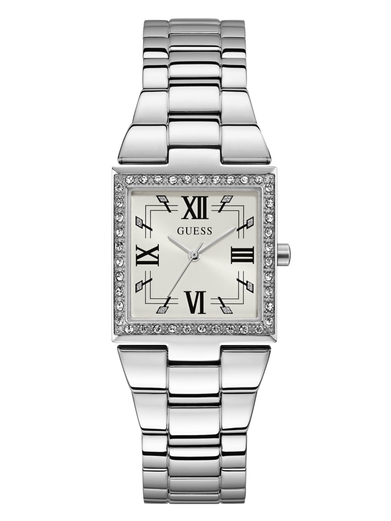 Silver-Tone Square Analog Watch