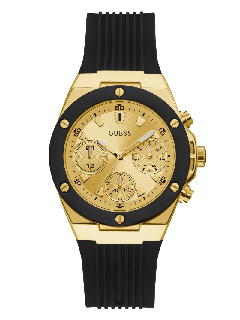 Gold-Tone And Black Multifunction Watch