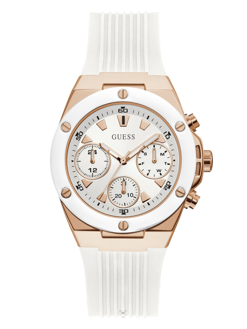 Rose Gold-Tone And White Multifunction Watch