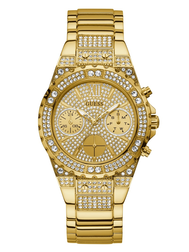 Gold-Tone Chrono-Look Crystal Watch