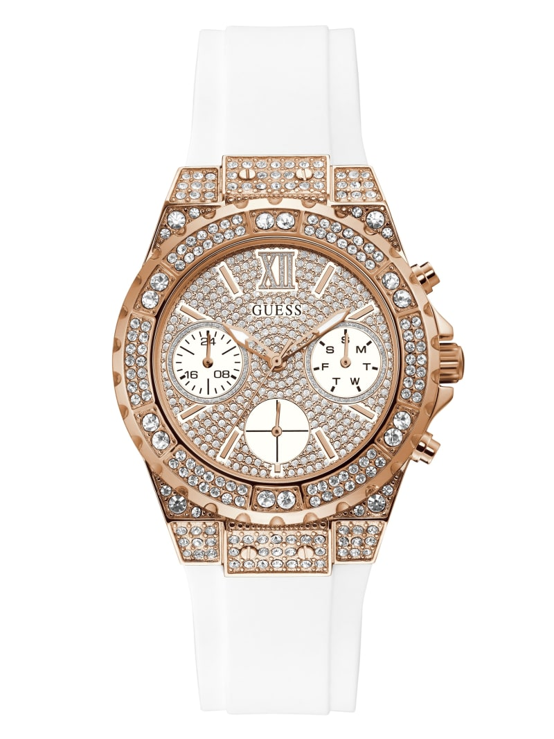 Rose Gold-Tone and White Chrono-Look Watch