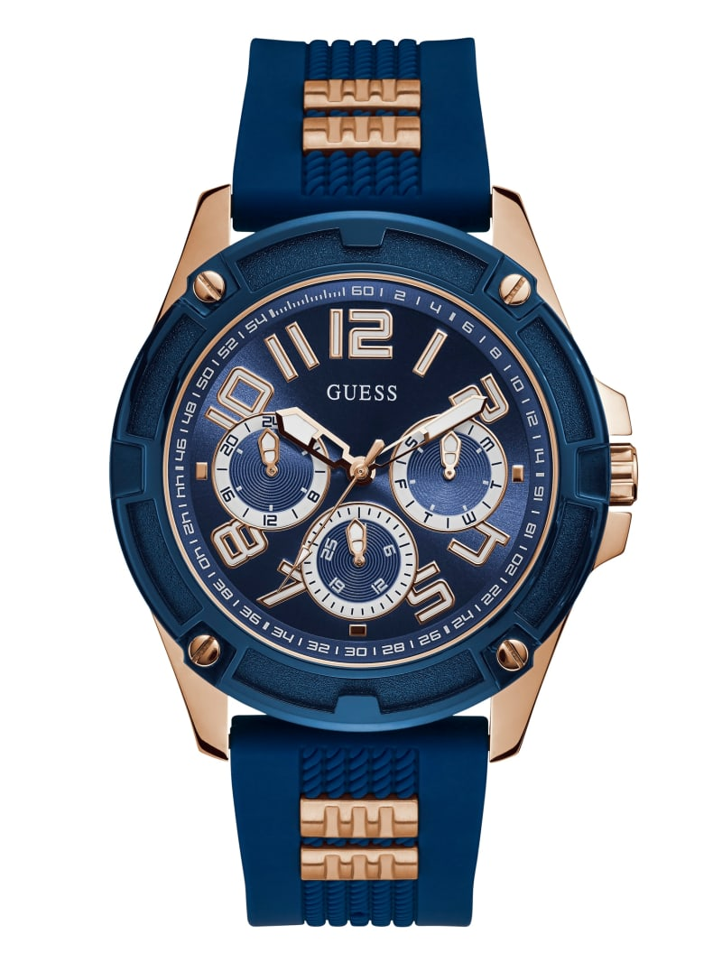 Blue And Rose-Gold Tone Silicone Watch