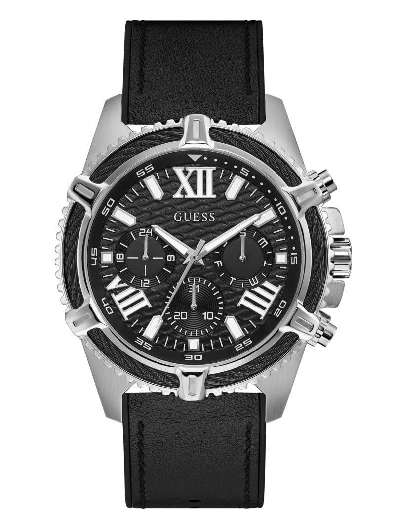 Silver-Tone and Black Chrono-Look Watch