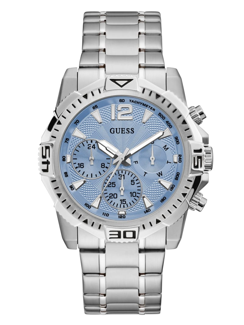 Silver-Tone and Blue Chrono-Look Watch