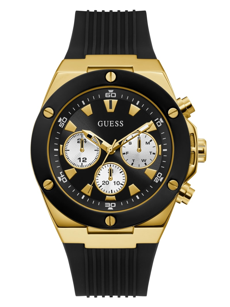 Gold-Tone And Black Chrono-Look Multifunction Watch