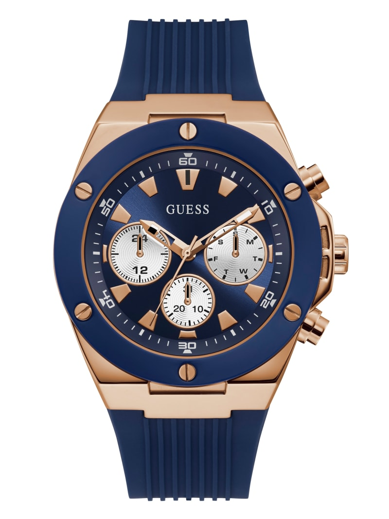 Blue And Rose-Gold Silicone Watch