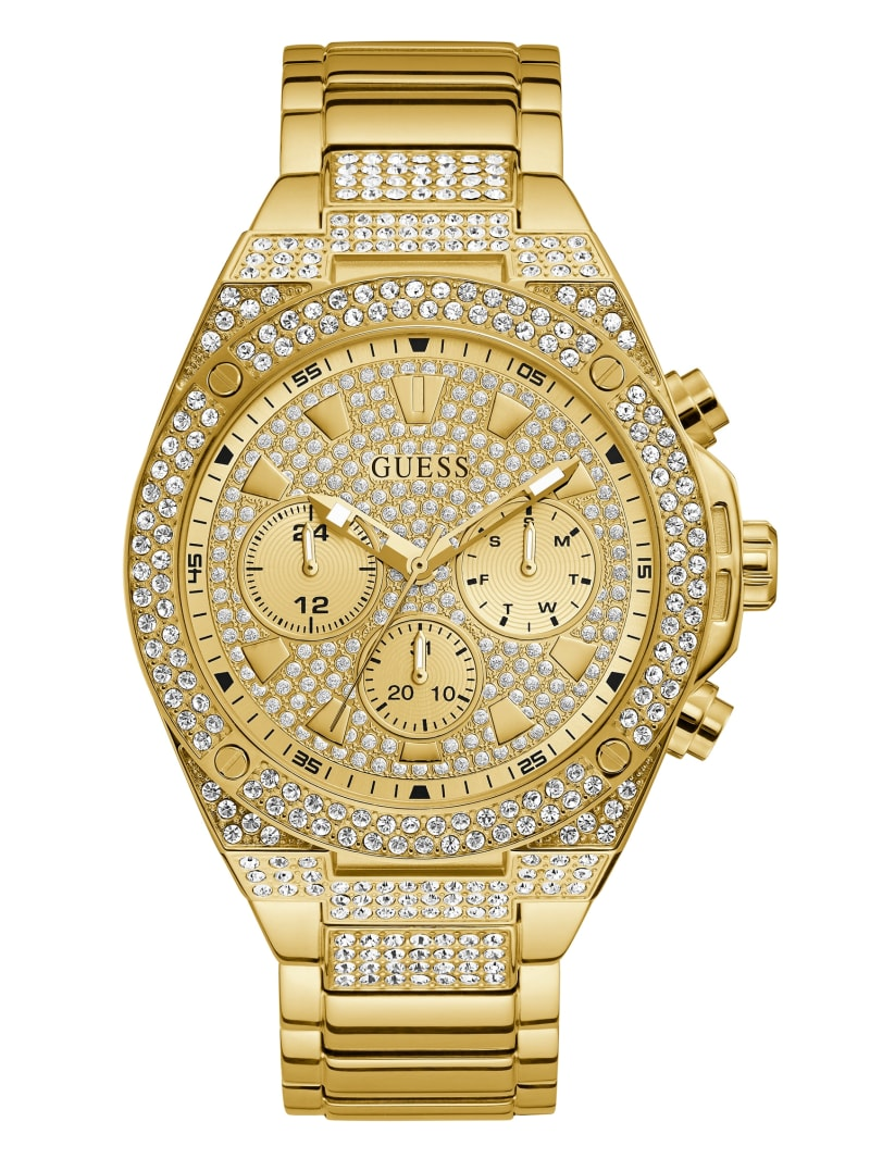 Gold-Tone and Champagne Chrono-Look Watch