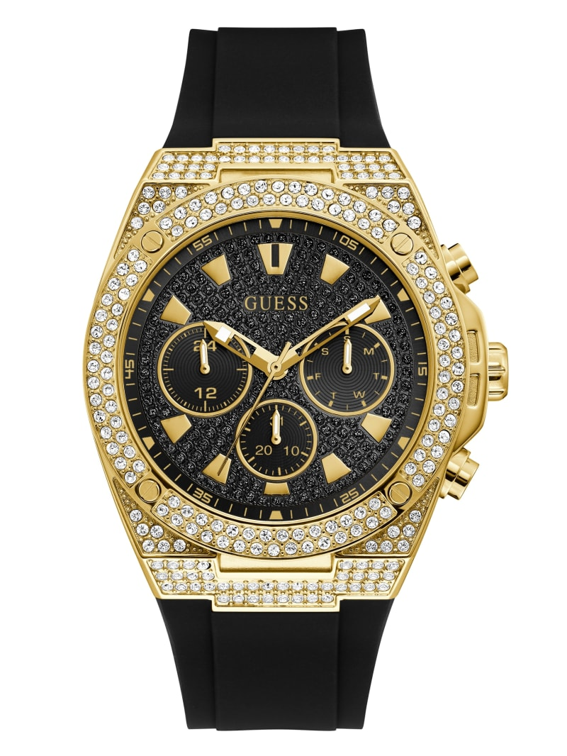 Gold-Tone and Black Chrono-Look Watch