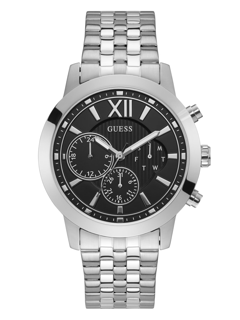 Silver-Tone And Black Chrono-Look Multifunction Watch
