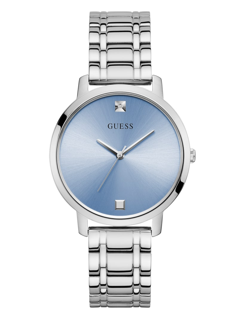 Silver-Tone And Blue Diamond Analog Watch