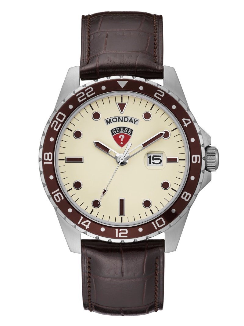 White and Brown Day/Date Watch