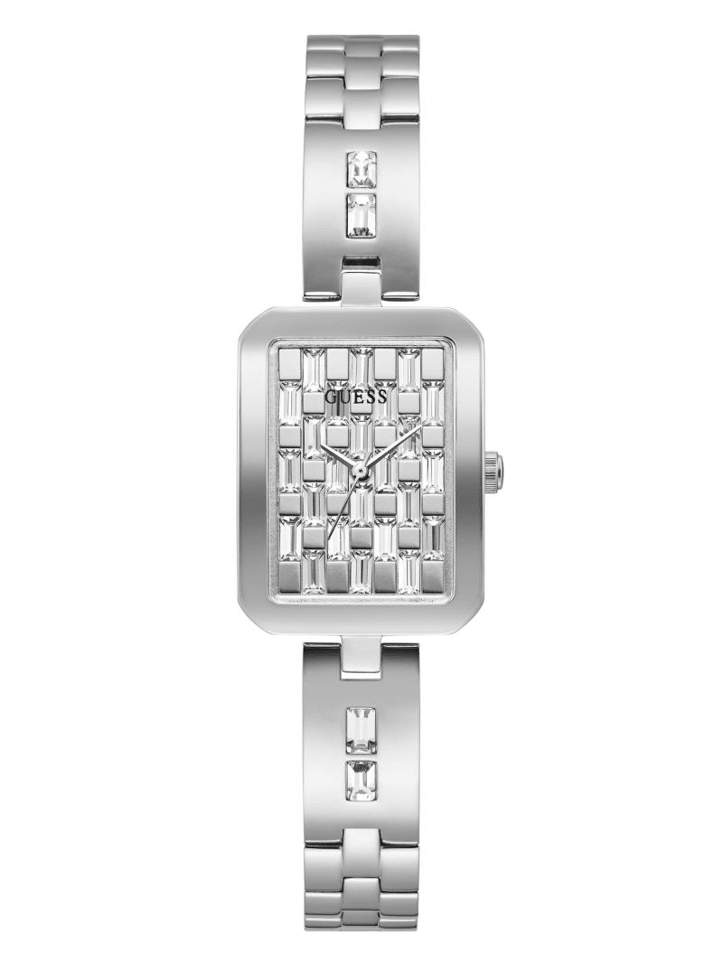 Silver-Tone Rectangular Analog Watch