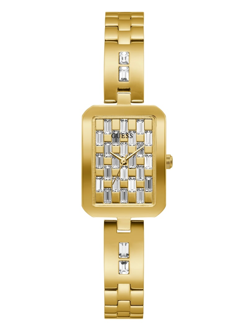 Gold-Tone Rectangular Analog Watch