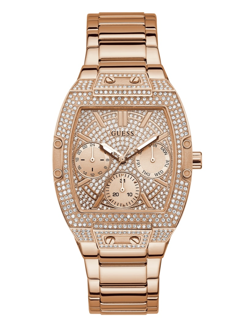 Rose Gold-Tone Square Multifunction Watch