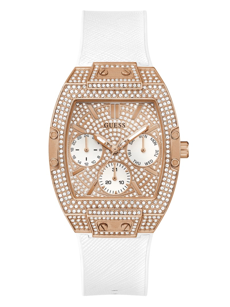 Rose Gold-Tone and White Square Multifunction Watch