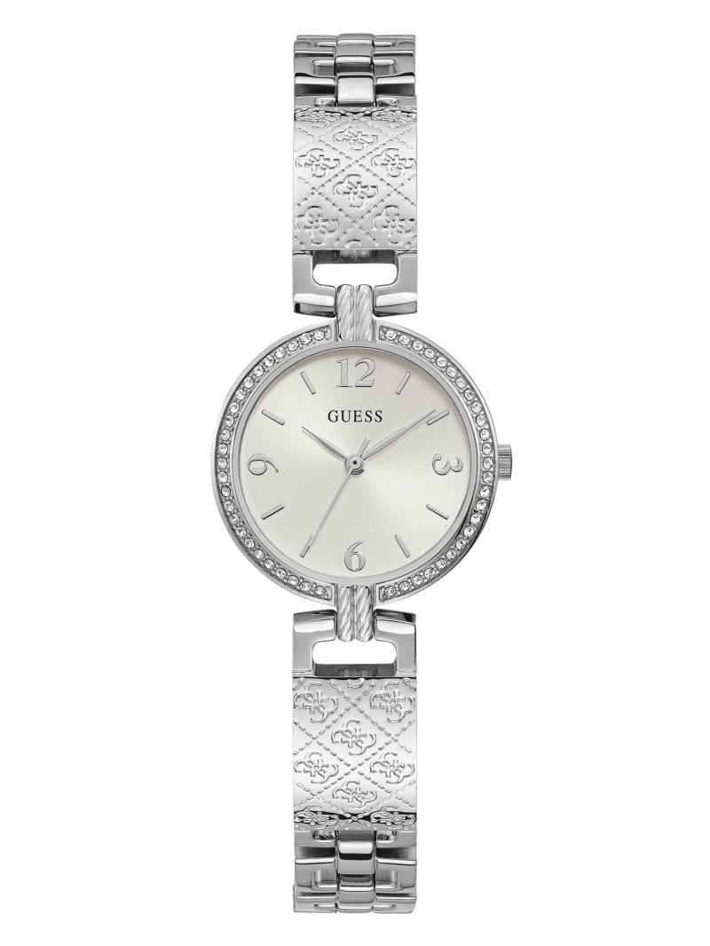 Silver-Tone Logo Bangle Watch