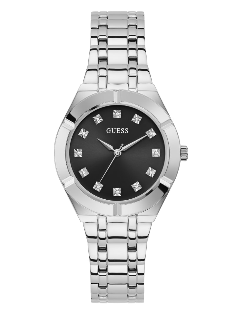 Silver-Tone and Diamond Analog Watch