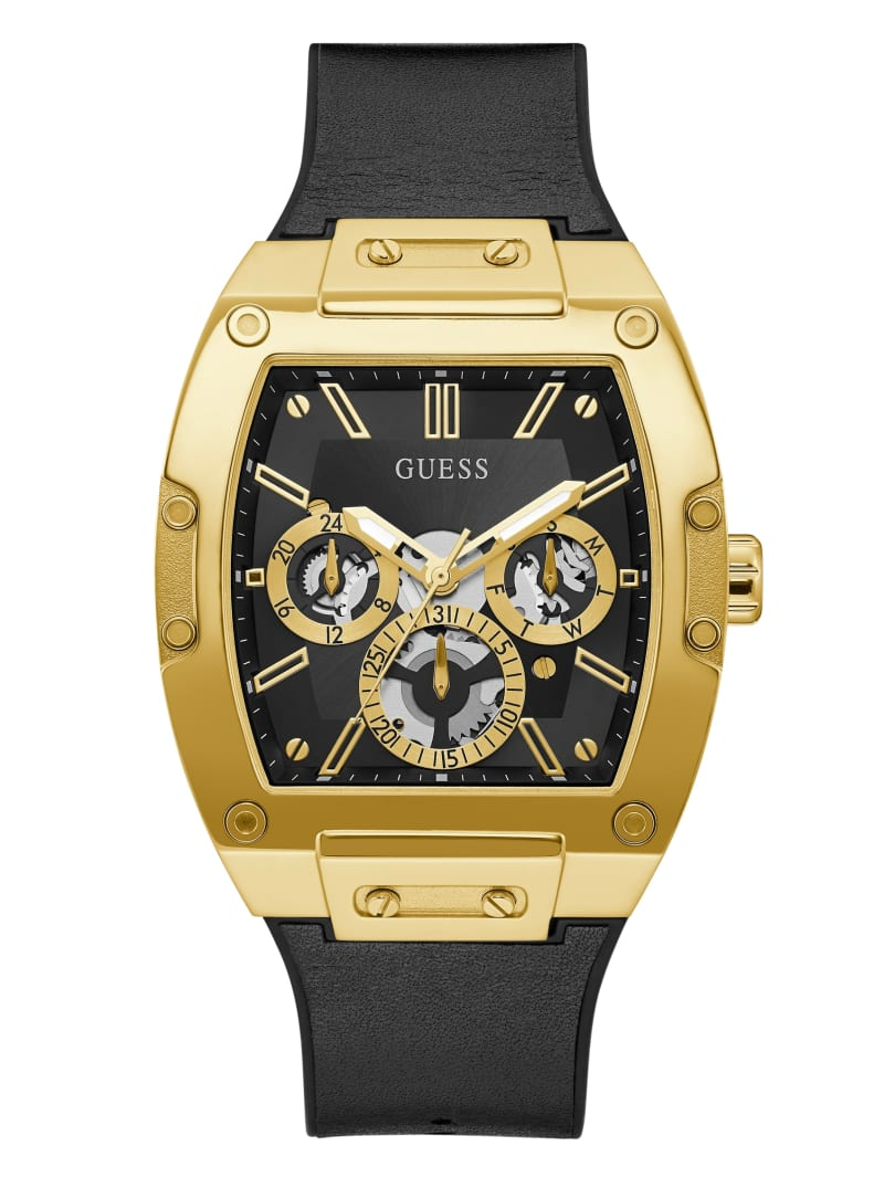 Black And Gold-Tone Square Multifunction Watch