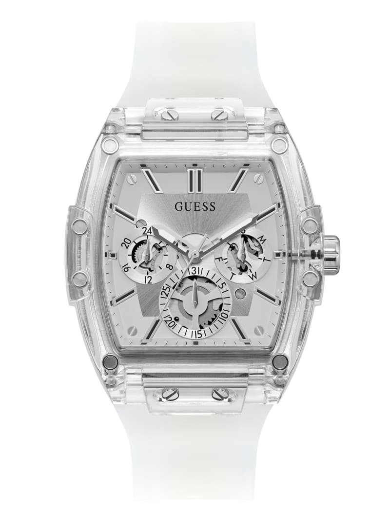 Transparent And Silver-Tone Multifunction Watch