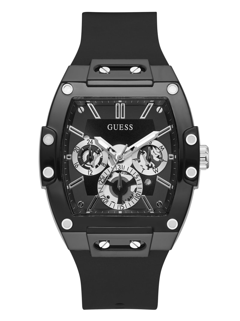 Black And Silver-Tone Multifunction Watch
