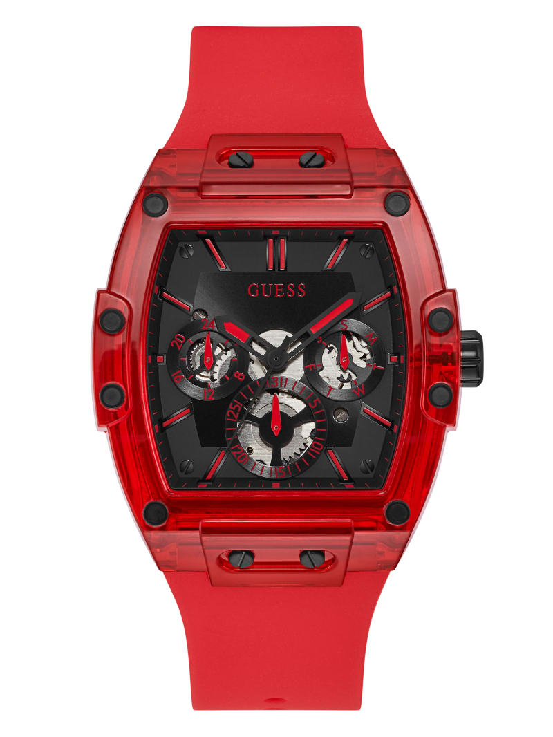 Red Plastic and Silicone Multifunction Watch