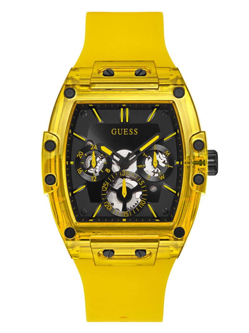Yellow Plastic and Silicone Multifunction Watch