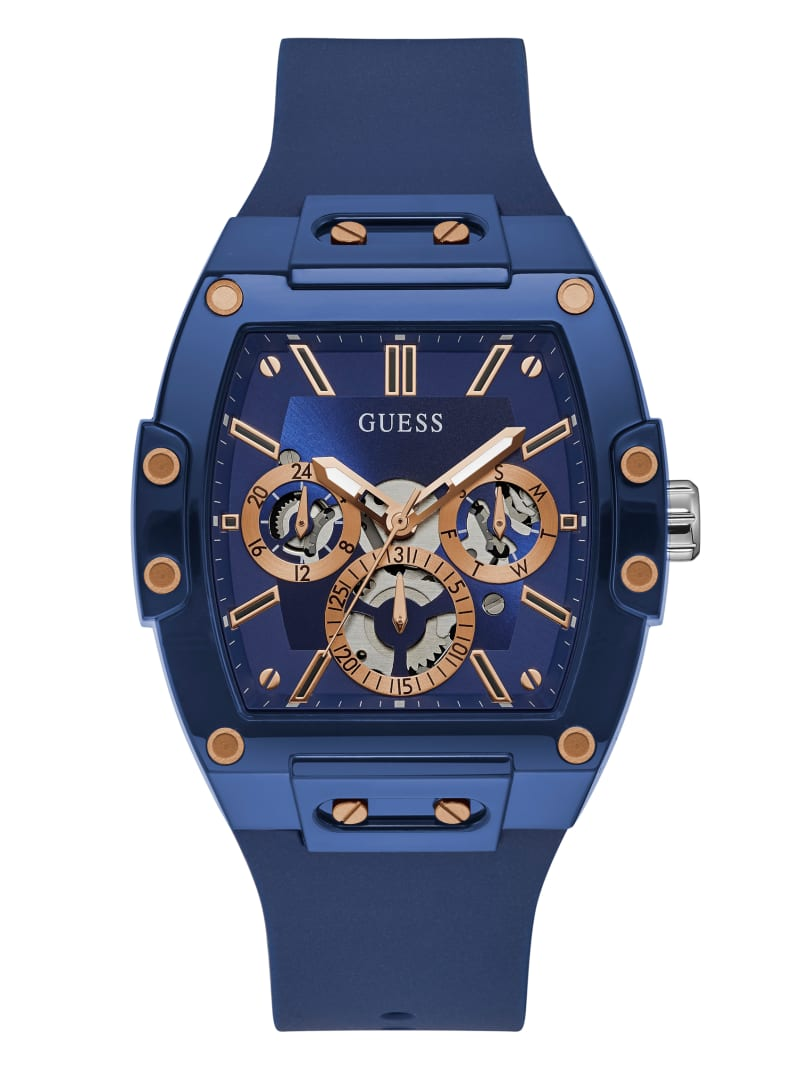 Rose Gold-Tone and Blue Silicone Multifunction Watch
