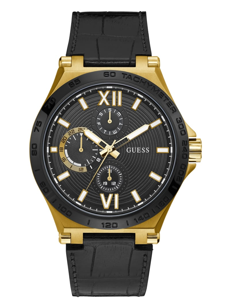 Gold-Tone And Black Tachymeter Watch