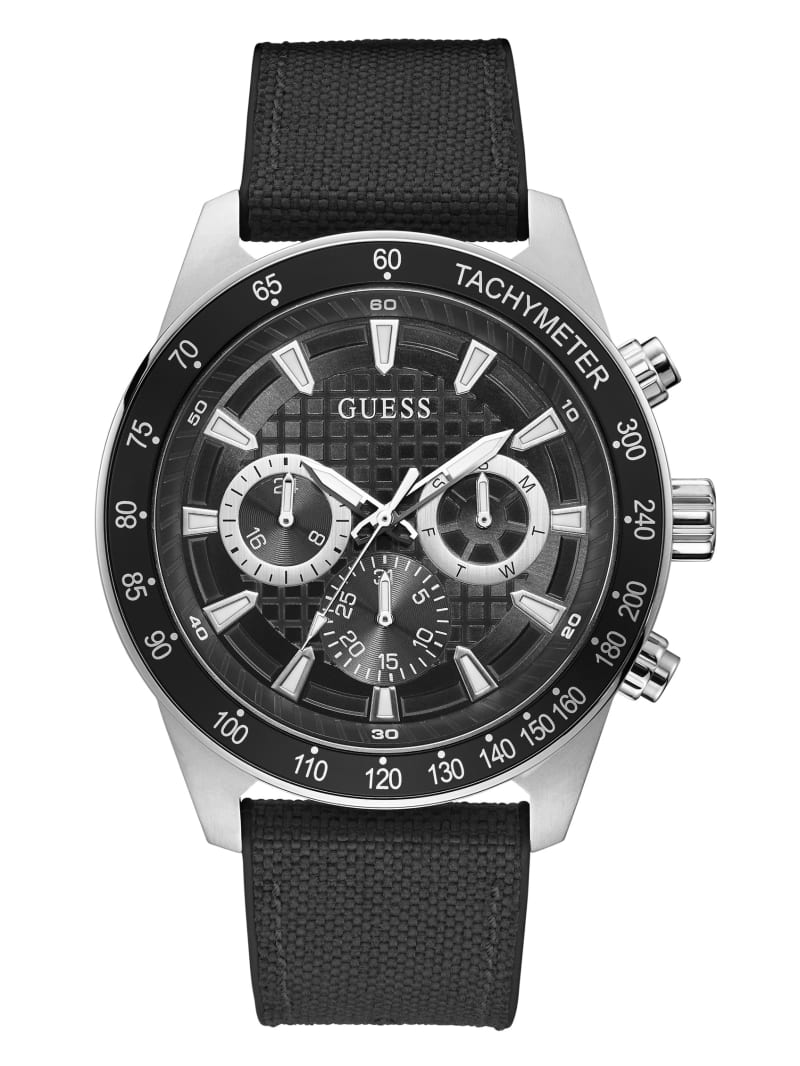 Silver-Tone And Black Multifunction Watch