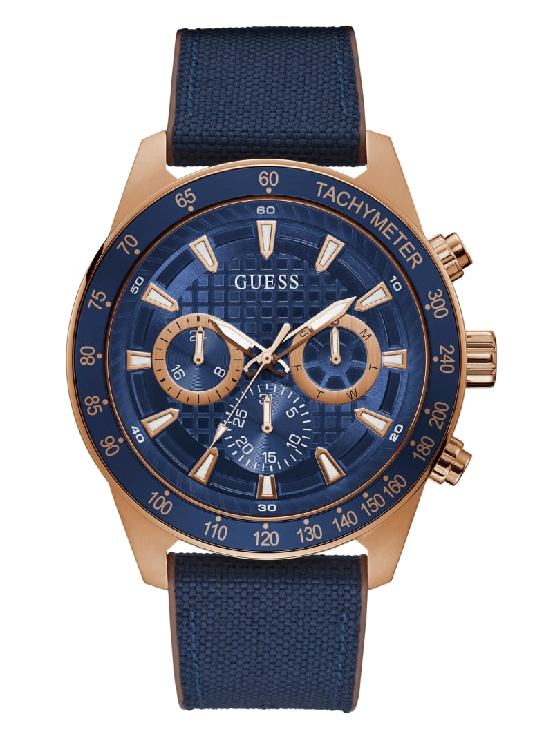 Rose-Gold Tone And Blue Multifunction Watch