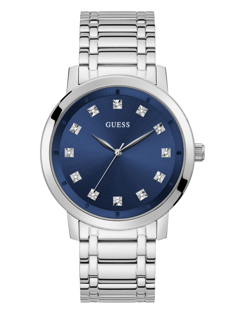 Paragon Silver-Tone and Blue Analog Watch