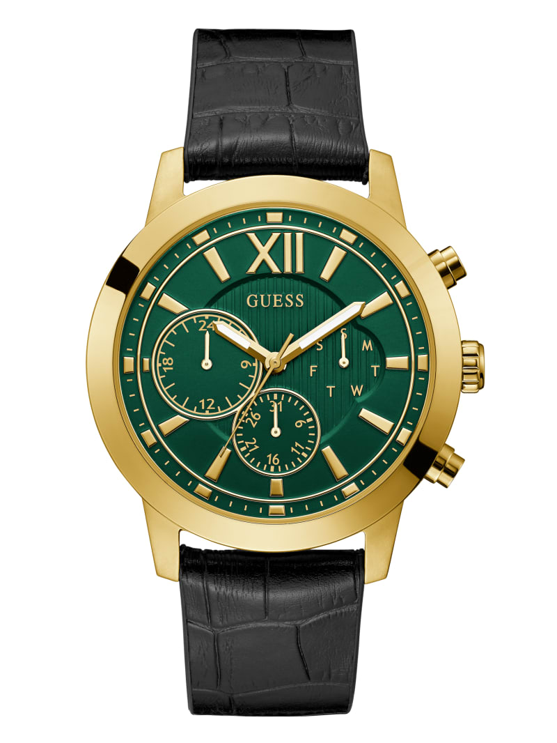 Gold-Tone And Green Croc Watch