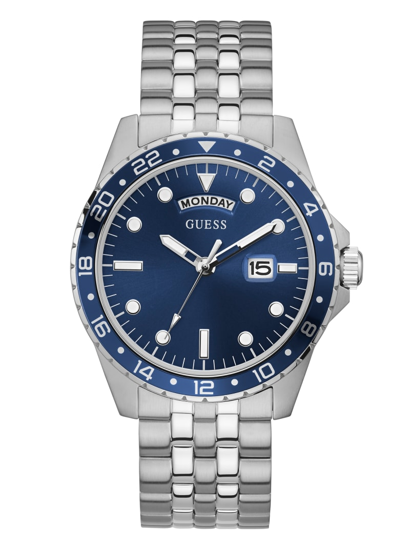 Silver Tone And Blue Sport Watch