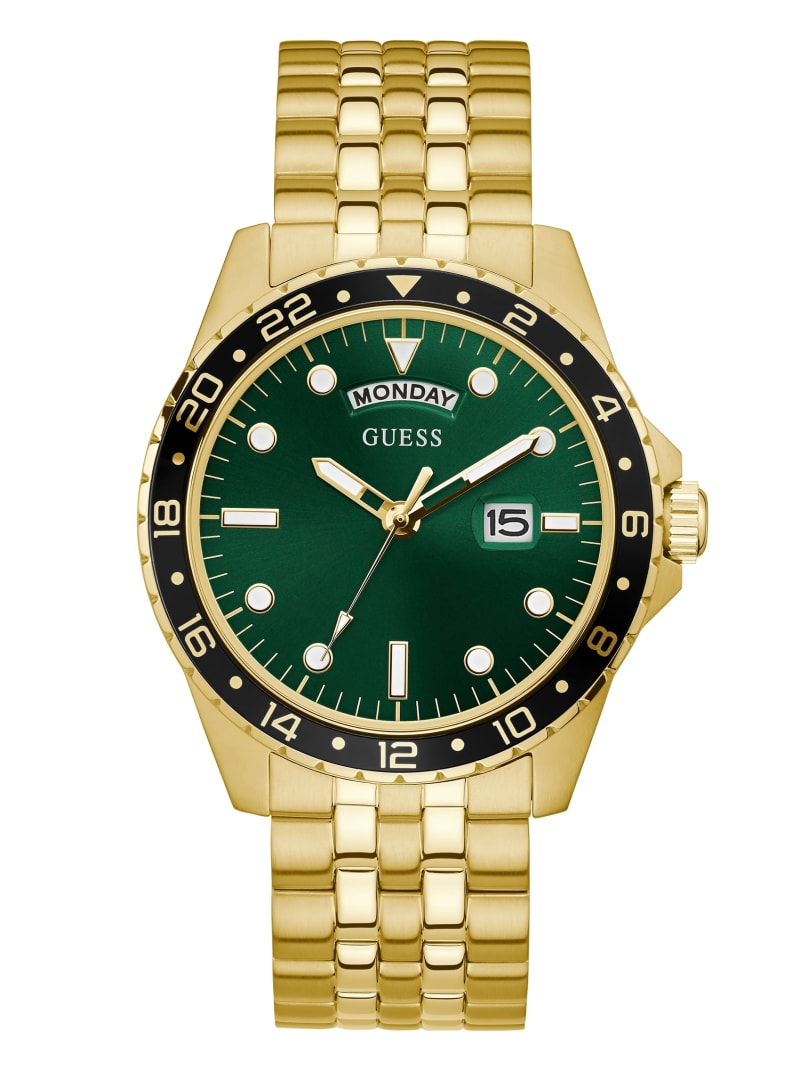 Gold-Tone And Green Sport Watch