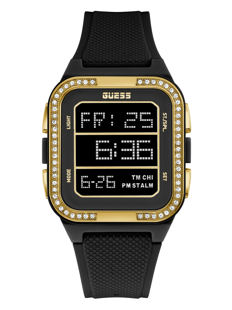 Black And Gold-Tone Digital Watch