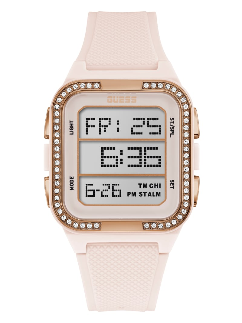 Nude And Rose Gold-Tone Digital Watch