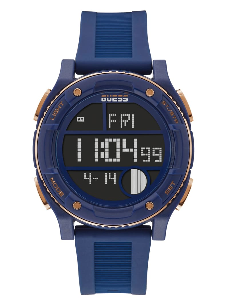Blue and Rose Gold-Tone Digital Watch