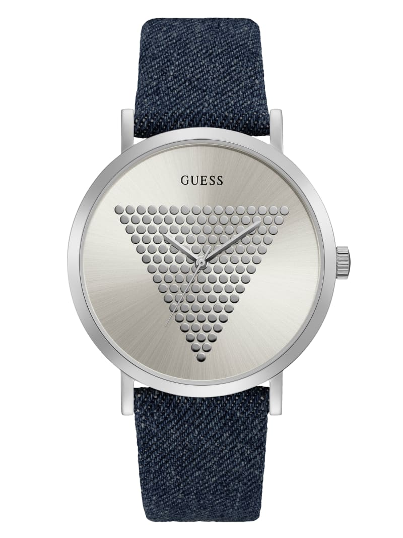 Silver-Tone and DenimAnalog Watch