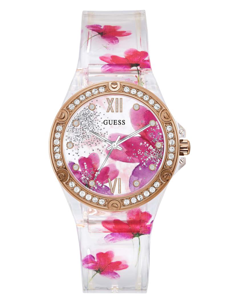 Floral Transparent Analog Watch