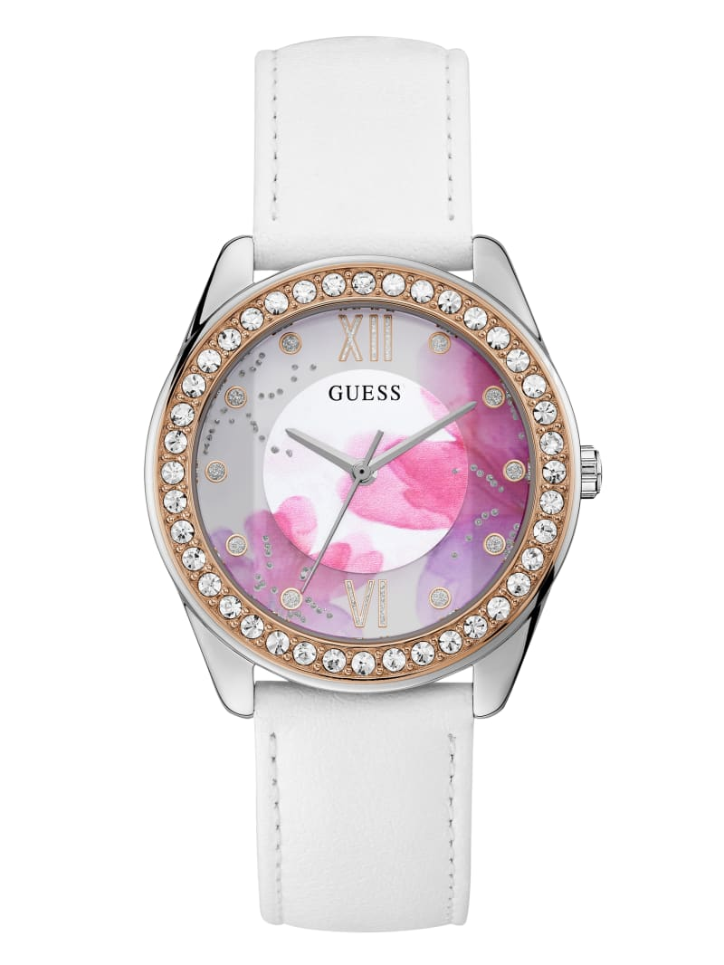 Floral And White Leather Analog Watch